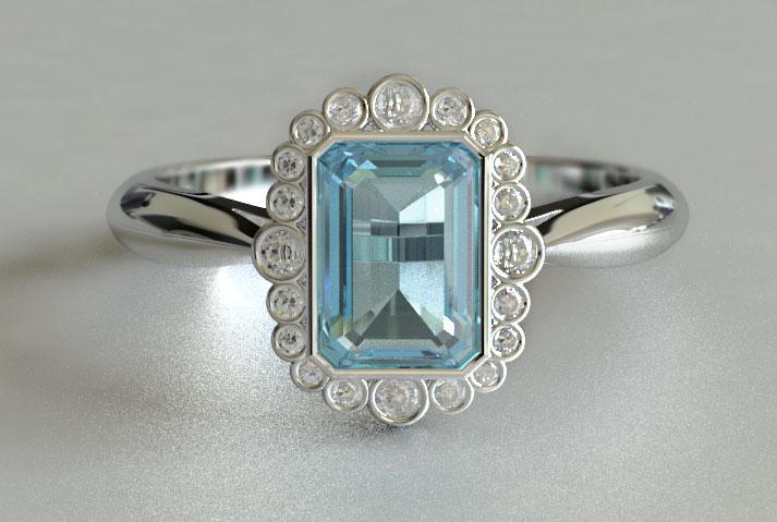 Best Vintage Emerald Aquamarine and Round Cut Diamond Engagement Ring  WO84