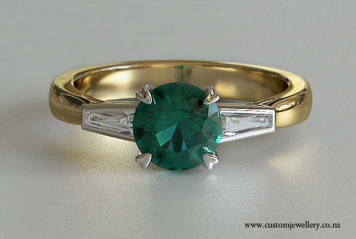 Yellow Gold Vintage Style Round Emerald and Baguette Side Stones