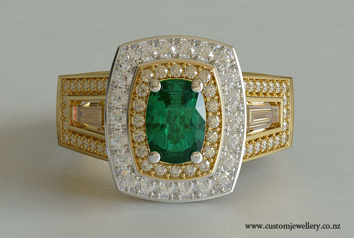 Cushion Cut Emerald and Baguette 3 Stone Yellow Gold Engagement