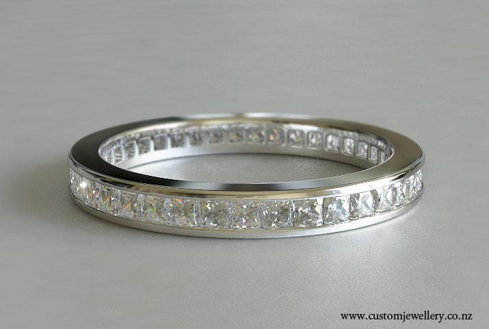 Clic Princess Diamond Wedding Band Channel Set All Around