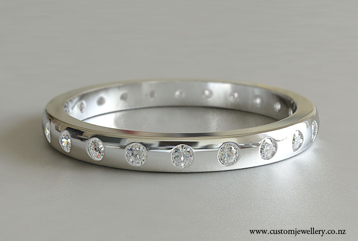 A Clic Diamond Wedding Band With 1 5mm Punch Set Round Brilliant Diamonds In White Gold Of Platinum