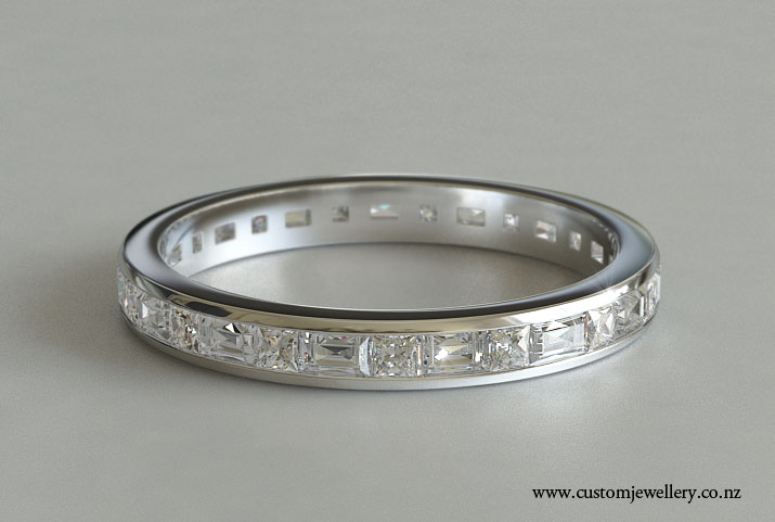 Clic Style Channel Set Baguette And Princess Diamond Full Eternity Ring Or Wedding Band