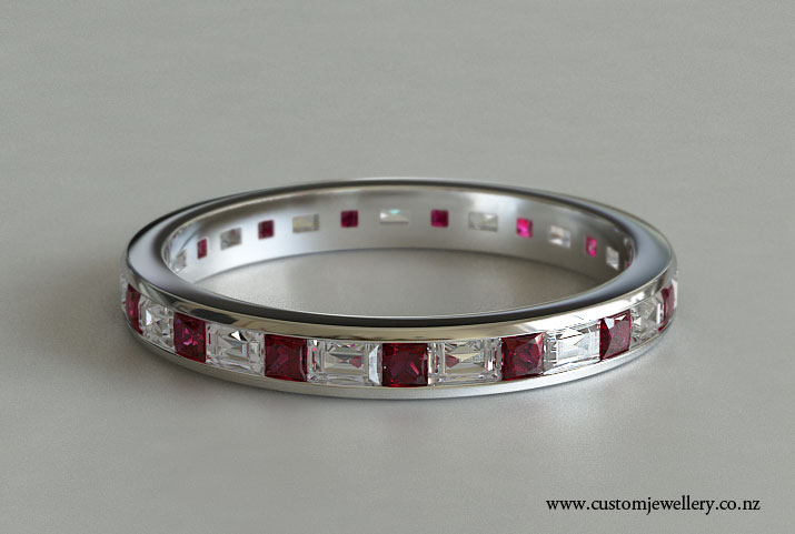 Channel Set Baguette Diamonds And Princess Ruby Full Eternity Ring Or Wedding Band